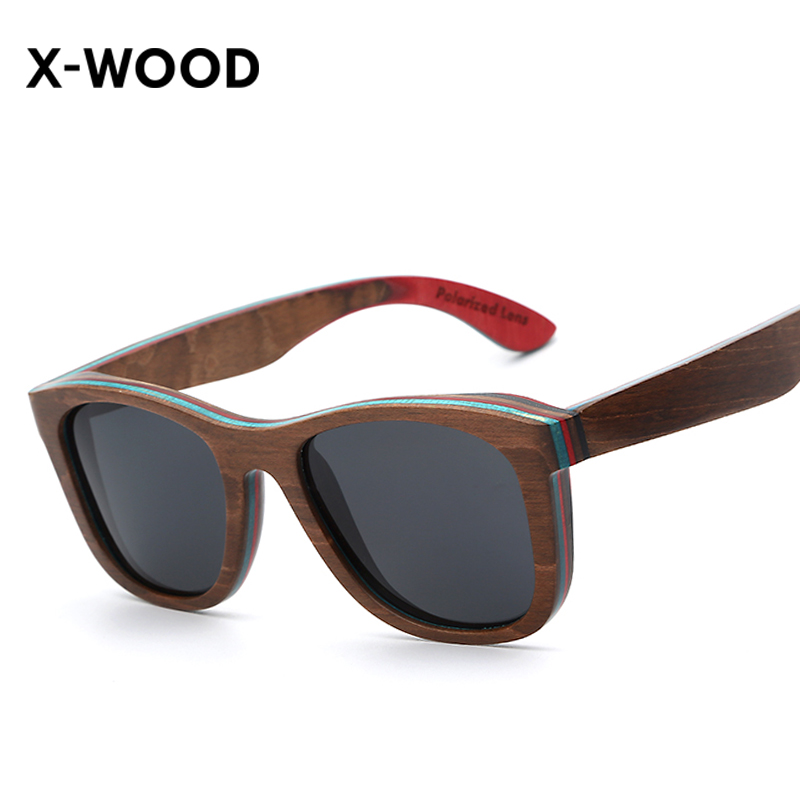 X-WOOD Polarized Wood Sunglasses Square Frame Brown Wooden Flat Top Style Glasses Coating Red Mirror Lens Women Sunglasses uv400 polarized mirror orange lens wood frame sunglasses