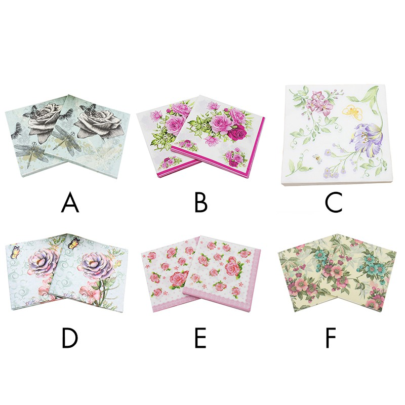Beauty Printed Tissue Feature Decoration Pink Paper Napkins For Event & Party 33cm * 33cm 20pcs / pack / lot Table Napkin