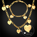 I LOVE YOU Heart Bracelet Necklace Set Yellow Gold Plated Figaro Chain Jewelry Set For Women Valentine's Day Gift 2016 NH747