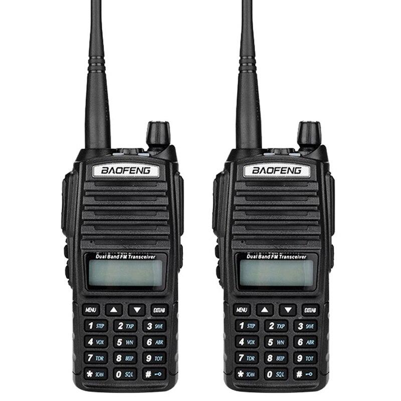 2PCS Baofeng UV 82 Walkie Talkies Portable CB Radio VHF UHF 136 174MHz 400 520MHz Radio