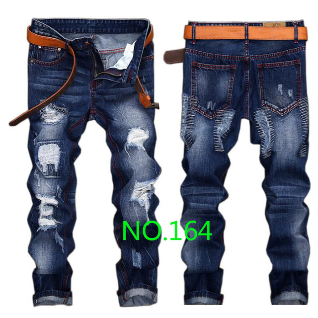 Men jeans 2017 new high quality holes jeans men Casual straight ripped jeans for men  homme balmai denim trousers  jeans