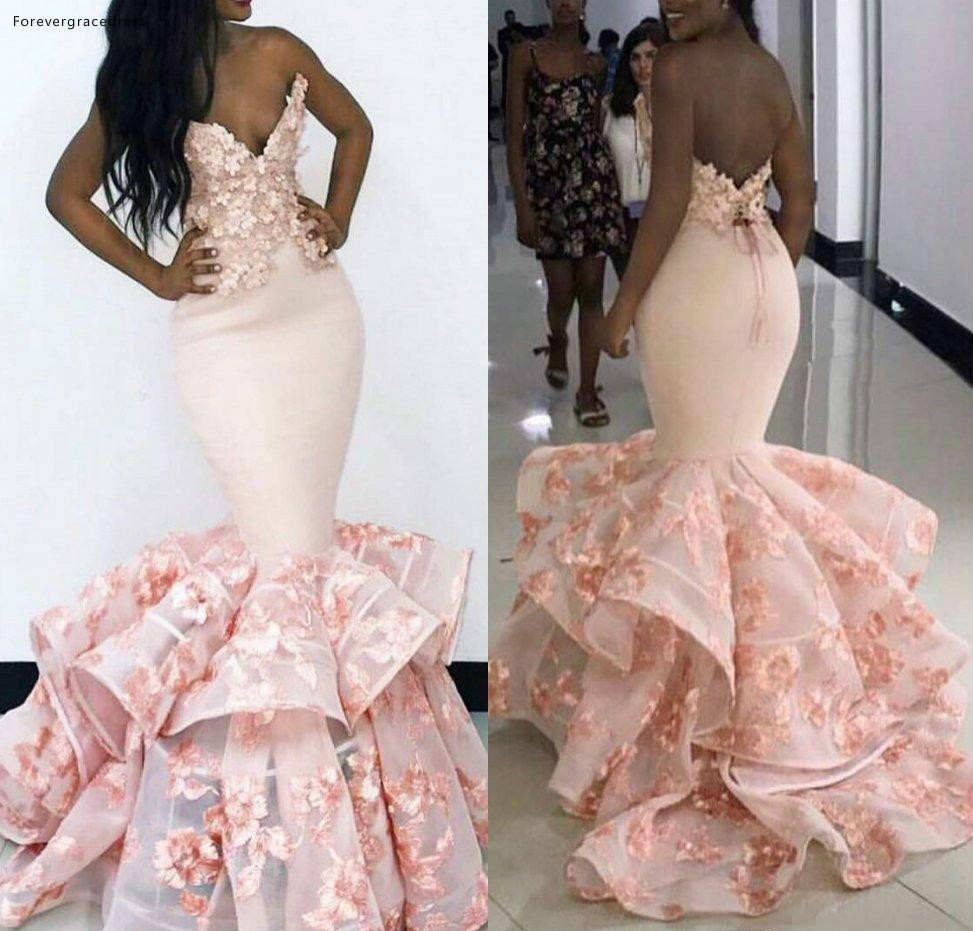 Pink Color   Prom     Dresses   2019 South African Mermaid Hand Made Flowers Pageant Holidays Graduation Wear Formal Evening Party Gowns