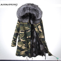 2017 New Long Camouflage Winter Jacket Women Outwear Thick Parkas Natural Real Fox Fur Coat Hooded
