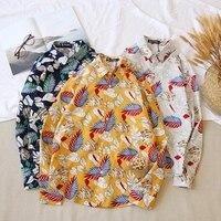 LFF 2018 New Arrival Men Women Fashion Summer Loose Flower Print Lover Long Sleeve Shirt Male