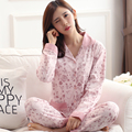 2017 Primavera Outono Conjuntos de Pijama Das Mulheres Qualidade Superior de Sleepcoat & Sleep Pants Lady Camisola De Algodão Sleepwear Fêmea 3XL