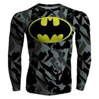 Men S Compression Fitness Base Layer Bat Man T Shirt Long Sleeve Muscle Bodybuilding Shirts
