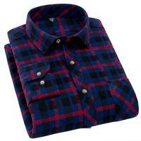 Men Shirt 2016 New Mens Casual Plaid Shirts Long Sleeve Slim Fit Comfort Soft Flannel Cotton