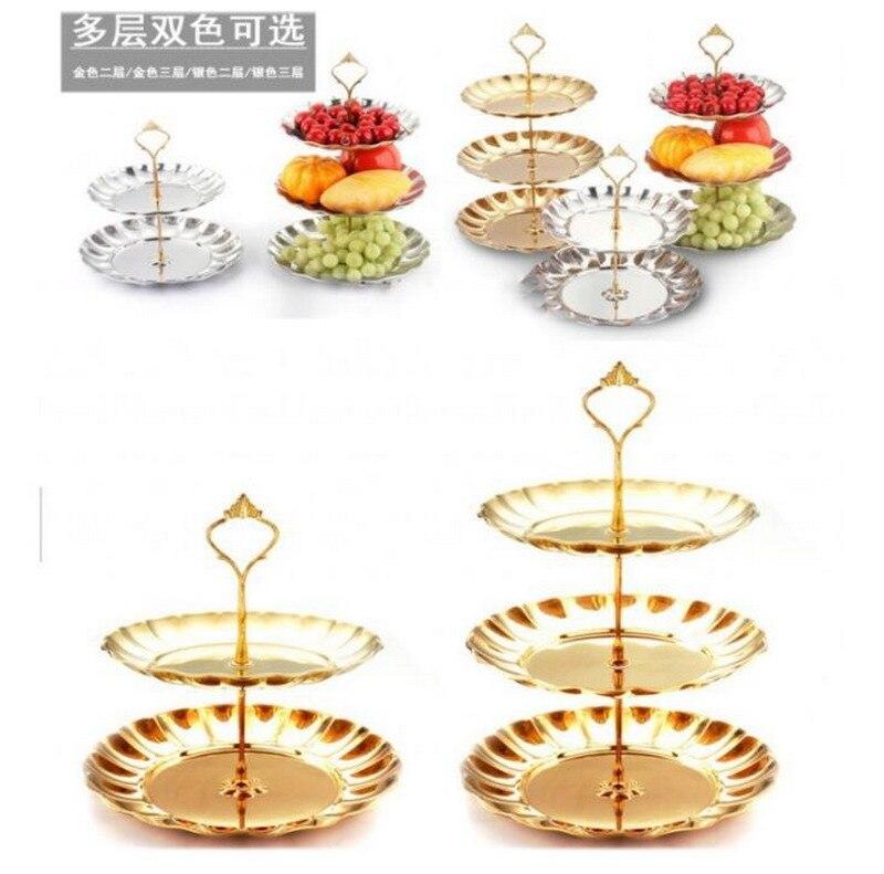 Roestvrij staal fruitschaal mode fruitschaal snack stand snoep lade - Keuken, eetkamer en bar