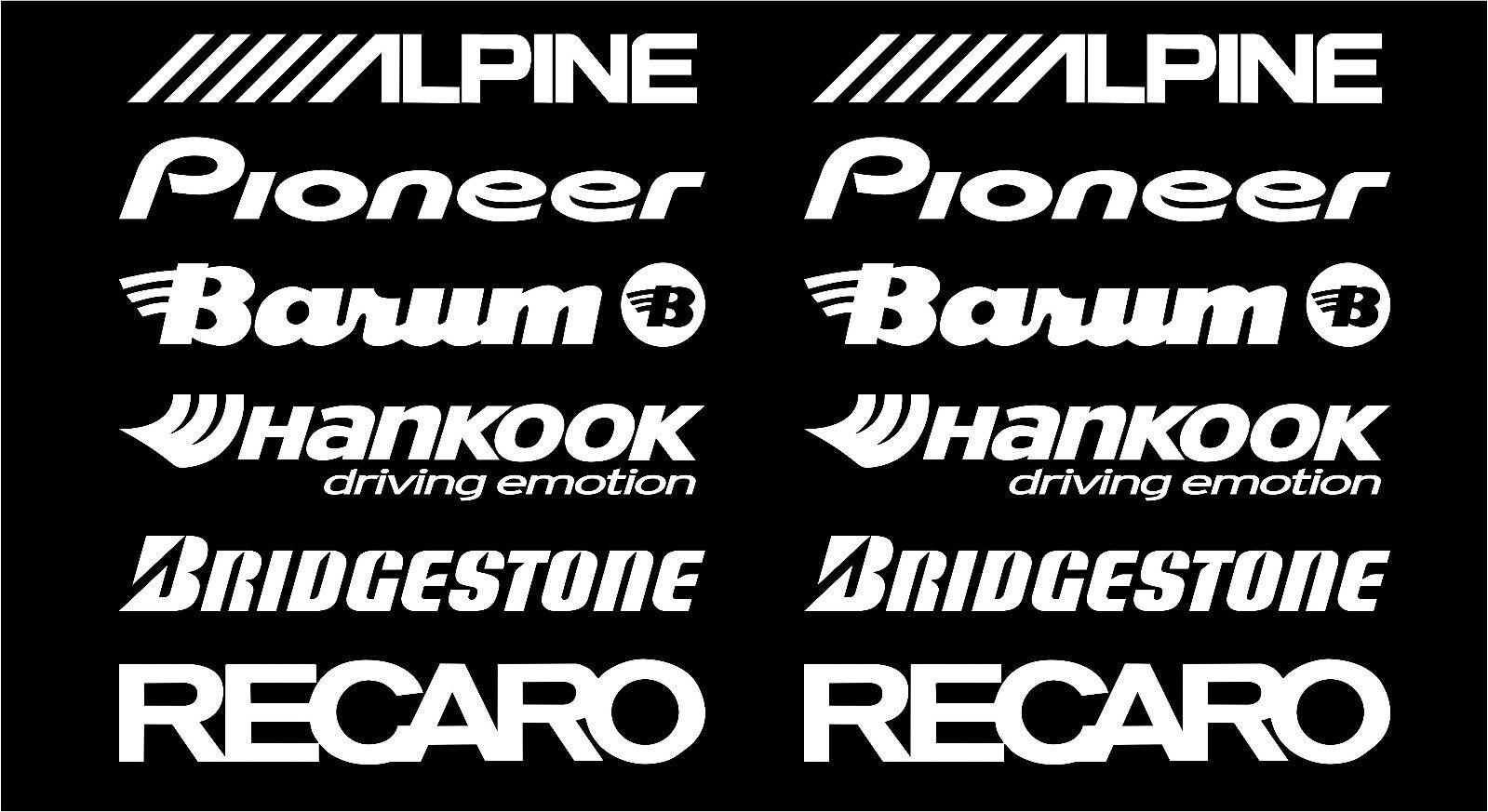 For 1Set ALPINE, PIONEER, BARUM, HANKOOK, BRIDGESTONE, RECARO car stickers WHITE #SK-004 Car Styling