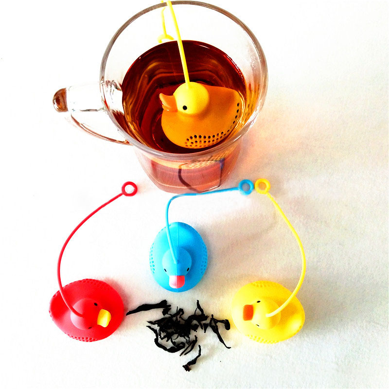 Food Grade Tea Strainers Reusable Kitchen Accessories Loose Leaf Diffuser Tea Infuser Silicone Duck Shape Tea Bag With String