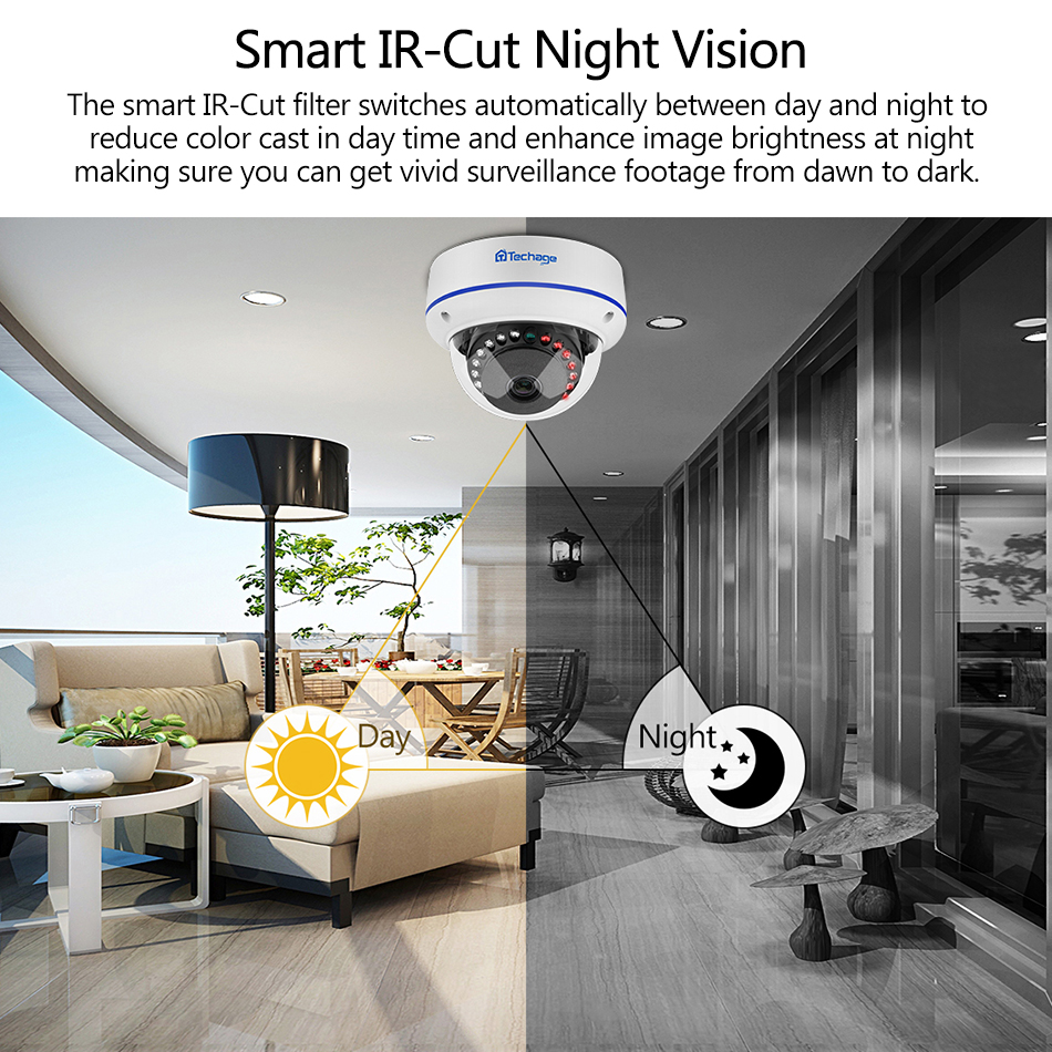 Image 3 - Techage H.265 8CH 1080P POE NVR Kit Security Camera System 2.0MP HD Dome CCTV POE Camera IR Night Vision Video Surveillance Set-in Surveillance System from Security & Protection