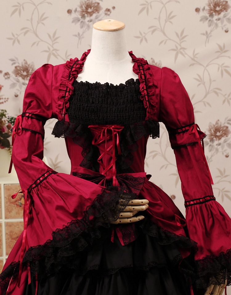 Robe Gothique Bal Rouge Robes Courtes Vintage Dentelle Personnalisé Manches Cosplay Multicouche Costume Princesse De Lolita Palais vtrwq6t