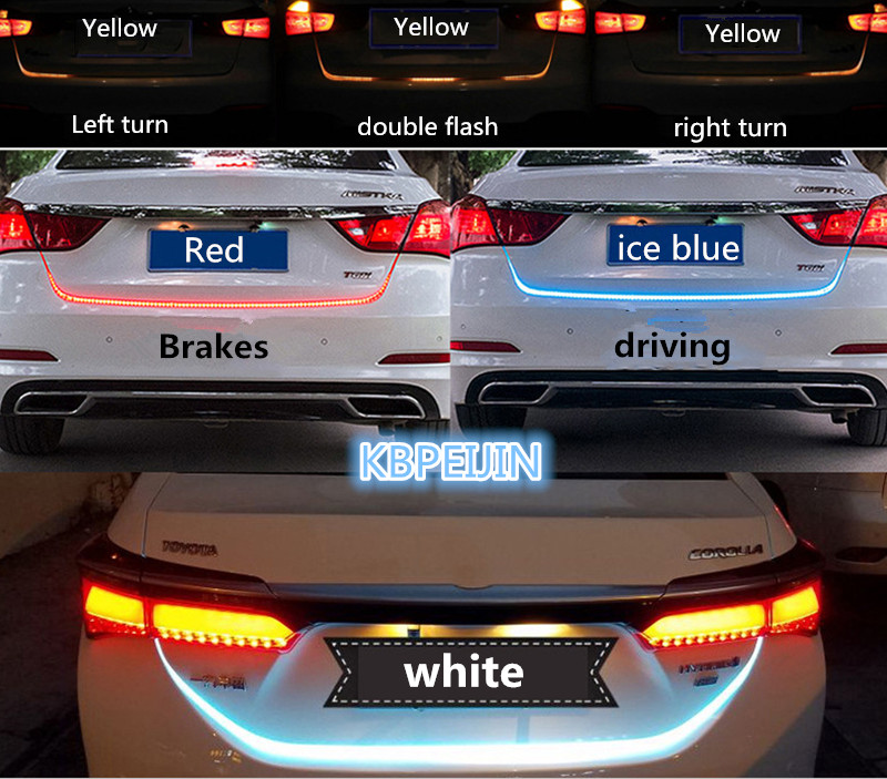 Accessories LED Dynamic Trunk Strip Lighting Rear Tail light Sticker for fiat punto 500 bravo freemont stilo panda car styling