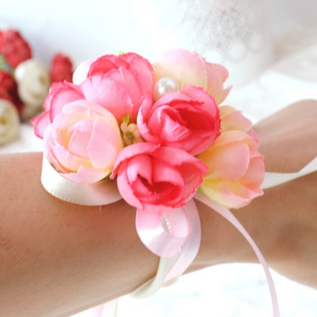 1 pcs wedding supplies hand flower bridesmaid silk rose wrist 1 pcs wedding supplies hand flower bridesmaid silk rose wrist flowers artificial bride flowers for wedding junglespirit Choice Image
