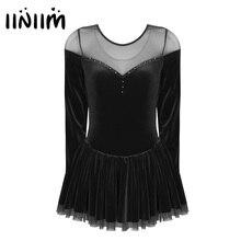 Robe de patinage artistique en velours pour femmes adultes, tenue contemporaine, pour le Ballet, gymnastique, justaucorps, ballerine, salle de bal