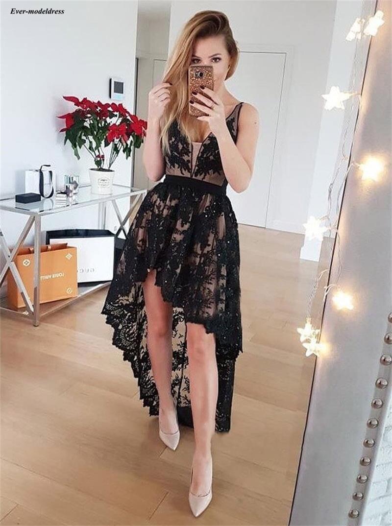 Chic Black High Low   Cocktail     Dresses   Lace Appliques Sequined Deep V-Neck See Through Arabic Party Gowns 2019 vestido de coctel