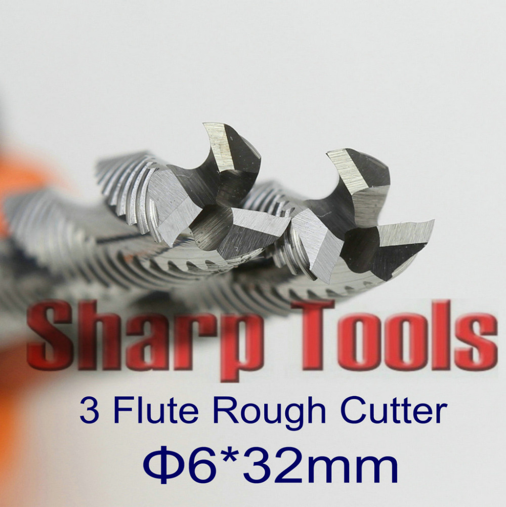 6*32mm 3 Flute End Mill Rough Cutter Solid Carbide Tools 5pcs/set Router Bit Milling Cutters for CNC Aluminum Plywood MDF Cut sharp 10pcs 4 32mm one sprial flute carbide end mill cnc router bits milling cutter for wood engraving machine tools mdf