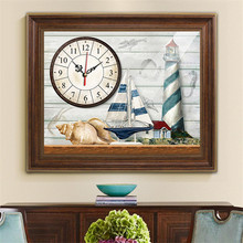 5D Diamond Painting Wall Clock Embroidered Restaurant Stickers Cross Stitch Mediterranean Side New