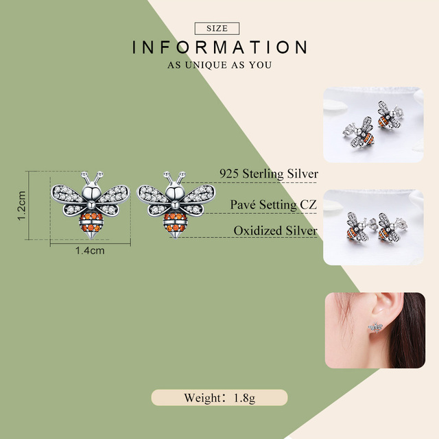 925 Sterling Silver Bee Exquisite Stud Earrings 1
