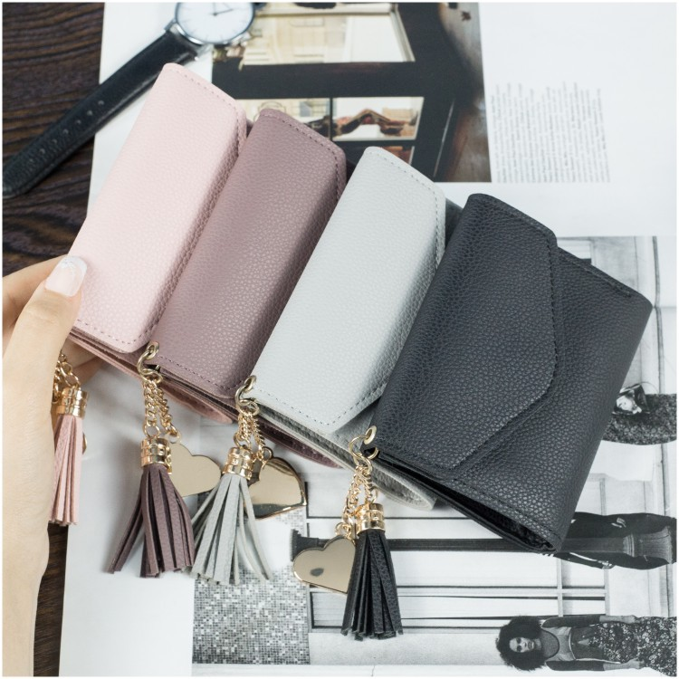 Girl Pink Bag Wallet Women Handbag Day Clutches Tassel Purses and Handbags Women Bags Designer Causal Mini Card Bag Leather D195
