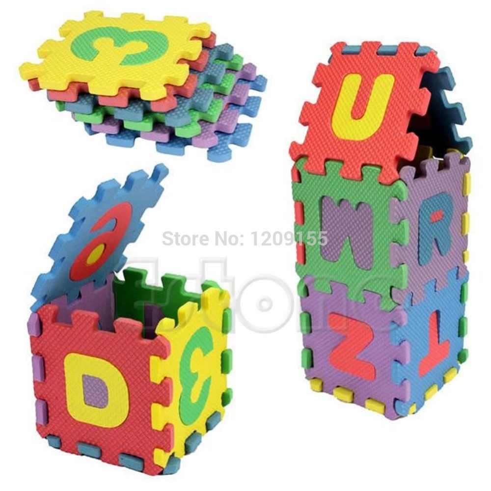 New Kid Educational Toy 36Pcs Mini Size Puzzle Alphabet A-Z Letters Numeral Foam Mat