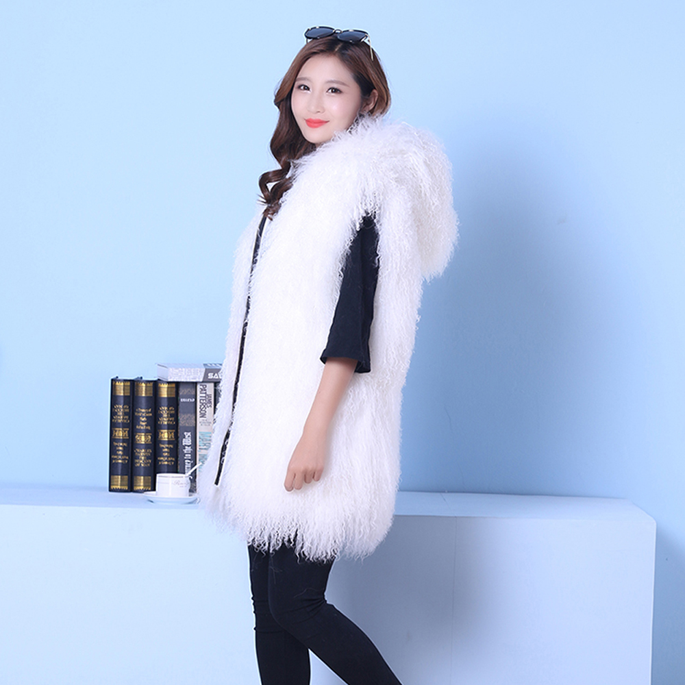 2019 Top Selling Match Well Style Genuine Mongolia Sheep Fur Gilet Real Fur Vest KSR189
