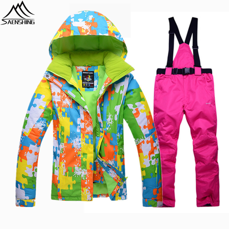 SAENSHING Winter Ski Suit Women Waterproof Snowboard Jacket Ski Pants Warm Breathable Snowboarding Suits Lady Outdoor Snow Suits pelliot brand ski pants women winter