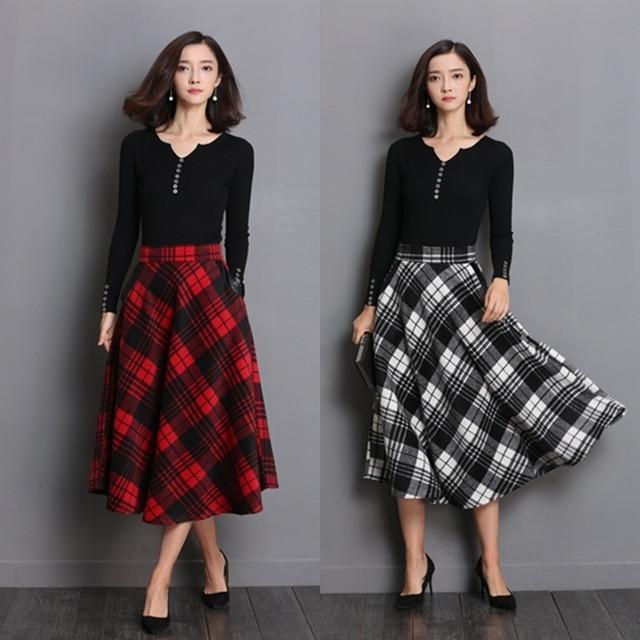 Neophil England Style Red Plaid High Waist Midi Skirts Woolen Plus Size 3XL A Line Pleated 2019 Winter Women Tartan Skirts S1735 2