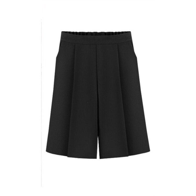 Women High Waist Pockets Casual Trouser Summer Elastic Waist Elegant Wide Leg Pants Knee Length Plus Size Loose Pants