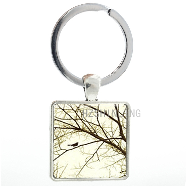 Vintage Nature Series keychain jewelry Tiny Bird In A Tree keyring ...