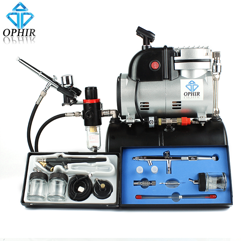 OPHIR 3L Air Tank Compressor w/ Dual Action Airbrush & Single Action Spray Air Brush Set for Tattoo Model Hobby Body Art _AC116+
