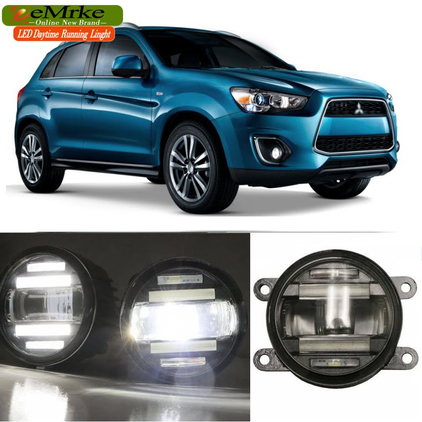 eeMrke Car Styling For Mitsubishi Outlander Sport ASX 2009-1015 2 in 1 LED Fog Light Lamp DRL With Lens Daytime Running Lights for mitsubishi asx lancer 10 9 outlander pajero sport colt carisma canbus l200 w5w t10 5630 smd car led clearance parking light