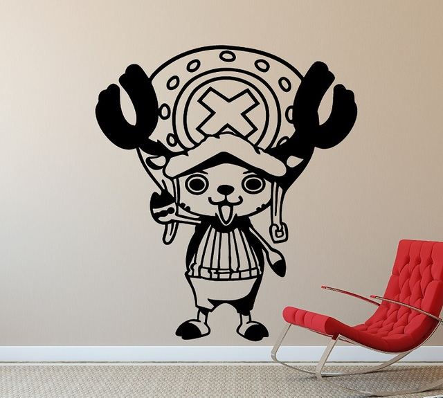Vinyl Wall Decker One Piece Tony Tony Chopper, Home Decor, Boy Room Sea Fan Room Wall Sticker  HZW18