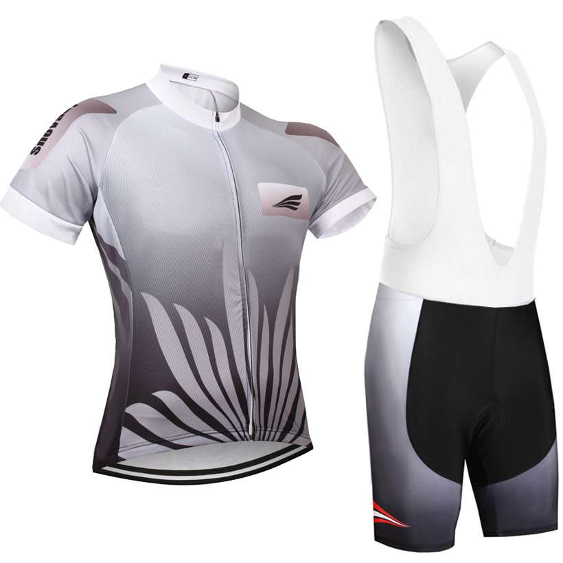New pro cycling Jersey 9D gel pad bibs shorts Ropa Ciclismo Grey Leaves Racing Team bike shirts flower bicycling Maillots