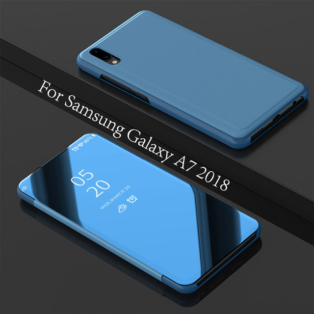 online retailer e1f49 28ed3 US $1.0 |New case For Samsung Galaxy A7 2018 Smart View Mirror Leather Flip  Hard Stand Case Cover For A7 2018 A750 Back Cover Case-in Flip Cases from  ...