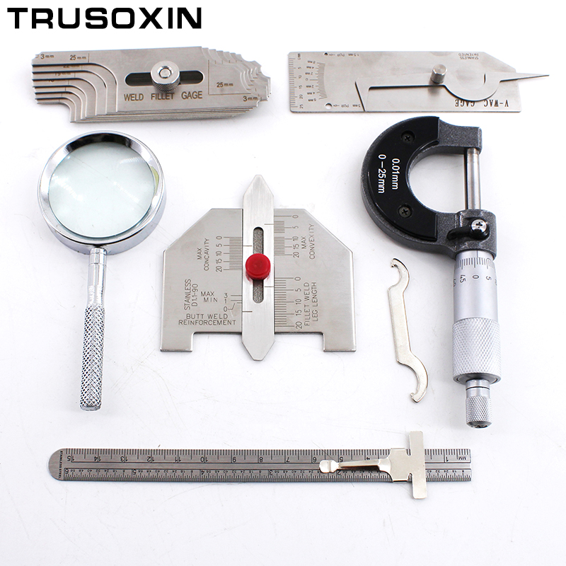 цены Welding Parts 6PCS Welding Inspection Gauge Weld Seam Bead/Fillet/Crown Test Ulnar Ruler Degree Angle Measure Kits Combine Suit