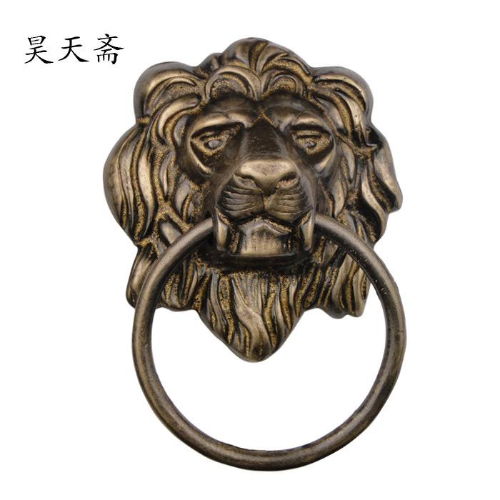 [Haotian vegetarian] Chinese ancient beast head knocker copper handle pure copper door lion head door ring HTA-087 chinese antique copper fittings knocker copper handle big lion tiger beast head copper shop first hand ring gate
