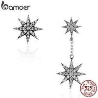 BAMOER Модные 100% стерлингового серебра 925 сверкающие звезды & Снежинки Висячие серьги для женщин бижутерия из натурального серебра Bijoux SCE108