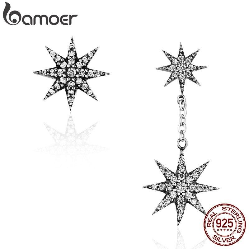 96dd8347740e BAMOER de moda 100% de Plata de Ley 925 espumosos estrella y copo de nieve  pendientes para las mujeres de plata auténtica joyería Bijoux SCE108