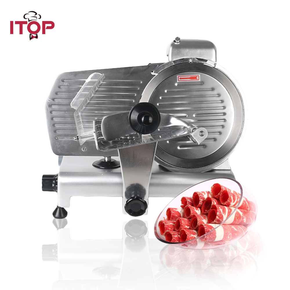ITOP 10'' Electric Food Slicers Frozen Beef Mutton Roll Meat Slicers 0 10mm Adjustable Thickness Semi automatic Food Processors