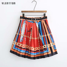 2019 New fashion Pleated skirt women Sashes Print a-line sexy skirt ladies Spring summer Casual high waisted mini skirt Female все цены
