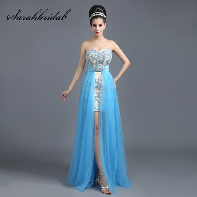 d1186f454816 Простой голубой Кружево Аппликации Короткие Коктейльные платья со съемным  Шлейфом Тюль Милая модные женские туфли для