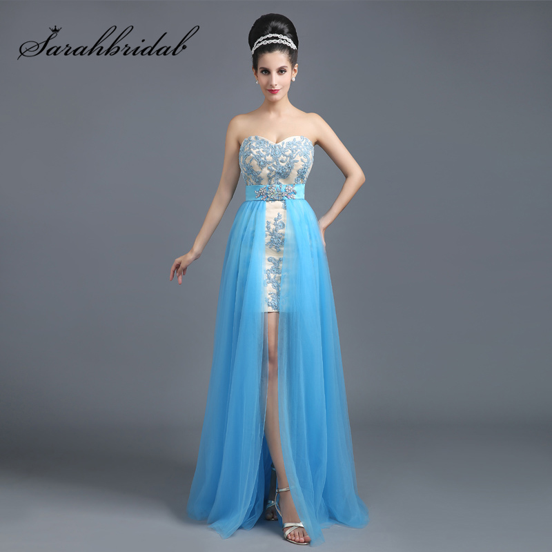 Simple Sky Blue Lace Appliques Short   Cocktail     Dresses   with Detachable Train Tulle Sweetheart Fashion Women Prom Party Gown SD258