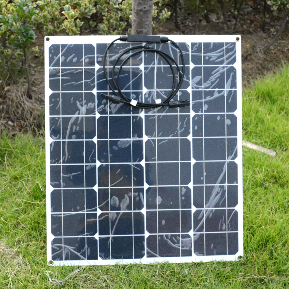 New Flexible 22V 50W Mono Solar Panel For Motorhomes Boats Cars Roof 12V Battery Factory Price 50W Solar Charger 680*540*2mm 2pcs 4pcs mono 20v 100w flexible solar panel modules for fishing boat car rv 12v battery solar charger 36 solar cells 100w