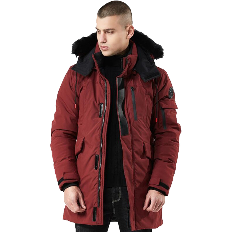 Winter Coat Men Windbreaker Fur Hooded Thicken Jacket Men's Streetwear Hiphop Military Trench Coats Long Parka Jaqueta Masculina