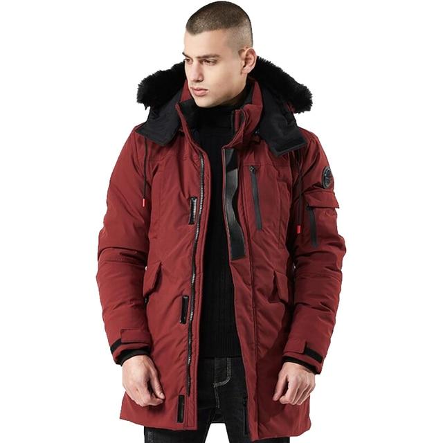 Зимнее пальто Мужская ветровка с меховым капюшоном утепленная куртка мужская уличная одежда в стиле хип-хоп военный Тренч пальто Длинная парка jaqueta masculina