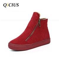 QICIUS Winter Short Ankle Boots Women Fur Shoes Boots Flats Heels Platform Warm Snow Boots Zippers