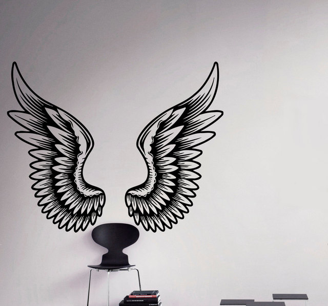 Angel Wings Wall Decal Beautiful Feathers Vinyl Sticker Home Decor ...