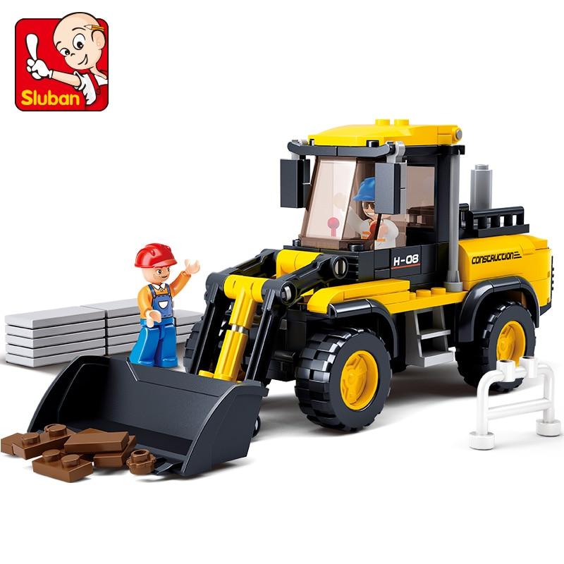 Sluban 0538 Bulldozer Car Building Blocks 212pcs Kids Construction Educational Bricks Toys For Children Gifts brinquedos creative construction toys car toy building blocks educational children s day