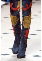 2017 Европейский Стиль зима Новое поступление; женские ботинки Цветочные Лоскутная Ботфорты бедро высокие замшевые женские сапоги